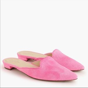 J Crew Hot Pink Suede Mules